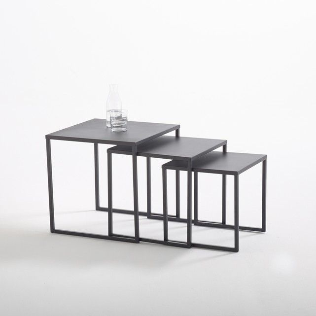 Hiba Set Of 3 Steel Nesting Coffee Tables Steel Coffee Table Steel Table Table