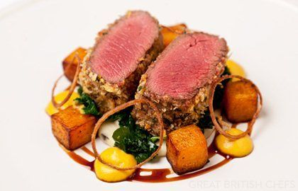 Richard Davies' venison with Parmesan crust recipe is laced with some sophisticated touches, from crispy shallot rings to diced and puréed butternut squash. A hearty and impressive dish to serve on a chilly day