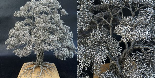 Sculture di alberi fatte interamente di filo metallico
