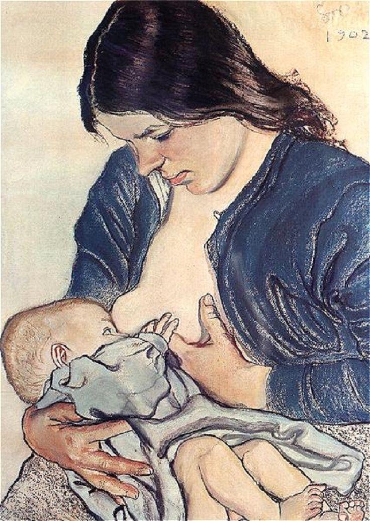 Breastfeeding painting by Stanisław Wyspiański