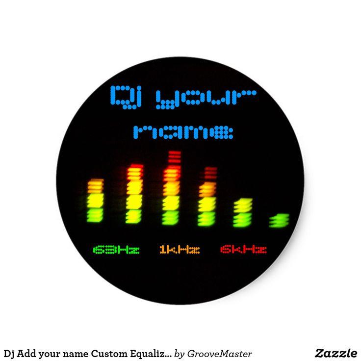 Dj add your name custom equalizer bar eq classic round sticker