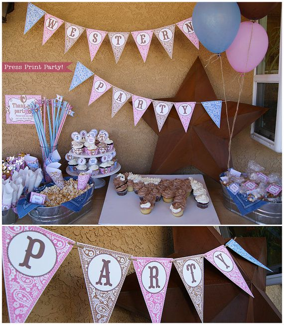 Cowgirl Western Party Printables - Pink, Brown and Blue - EDITABLE - Complete set party supplies and decorations - INSTANT DOWNLOAD pdf