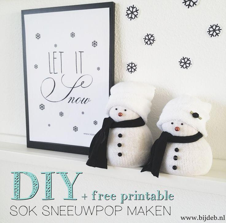 DIY sok sneeuwman en free A4 printable
