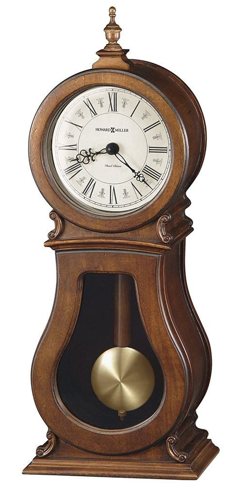 Traditional Arendal Mantel Clock Vintage Modern Face Style Brown Quartz Chimes #HowardMiller