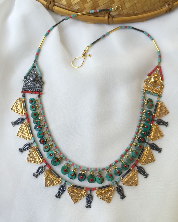Turkmen Necklace silver/gold plated with turquoise stones in two strands