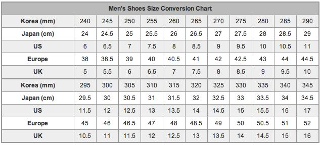 mens shoe size chart for your reference
