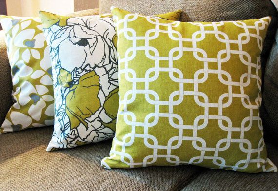 """Decorative Pillow Covers, Set of Three 18"""" x 18"""", Citrine Yellow, Gray and Natural"""