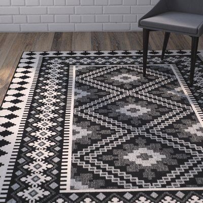 Tillis Black/Creme Outdoor Area Rug