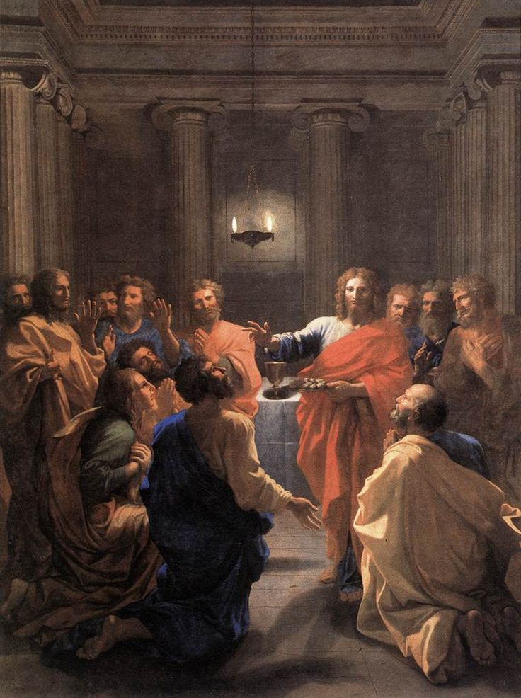 The Institution of the Eucharist / Jésus-Christ instituant l'Eucharistie / Jesucristo instituyendo la Eucaristía // 1641 // Nicolas Poussin // Musée du Louvre, Paris // Holy Communion // Image: Web Gallery of Art // #Jesus #Christ