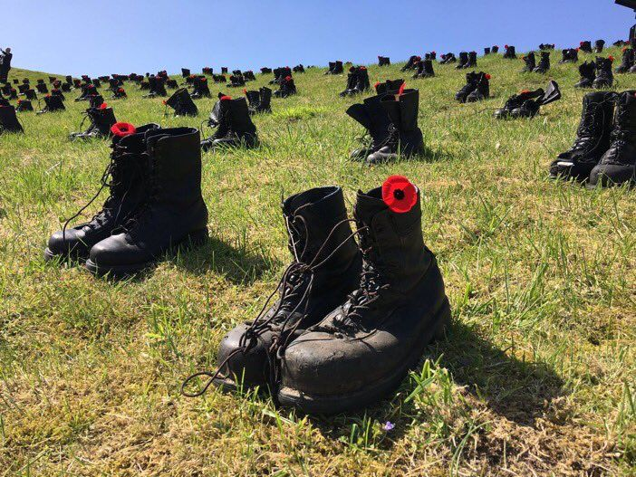 3,598 Canadians died here at Vimy Ridge 100 years ago. Boots represent the fallen soldiers. #Vimy100 04/09/2017