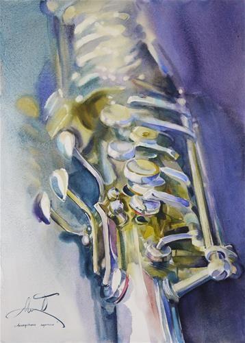 "Daily+Paintworks+-+""tenor+saxophone""+-+Original+Fine+Art+for+Sale+-+©+Beata+Musial-Tomaszewska"