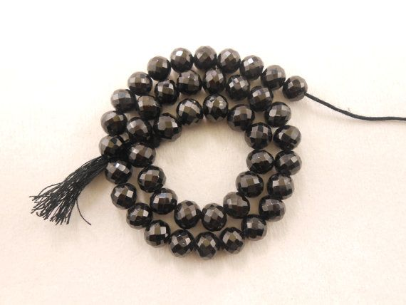 Natural Black Spinal Micro Faceted Round Beads 11 by gemsgemsn
