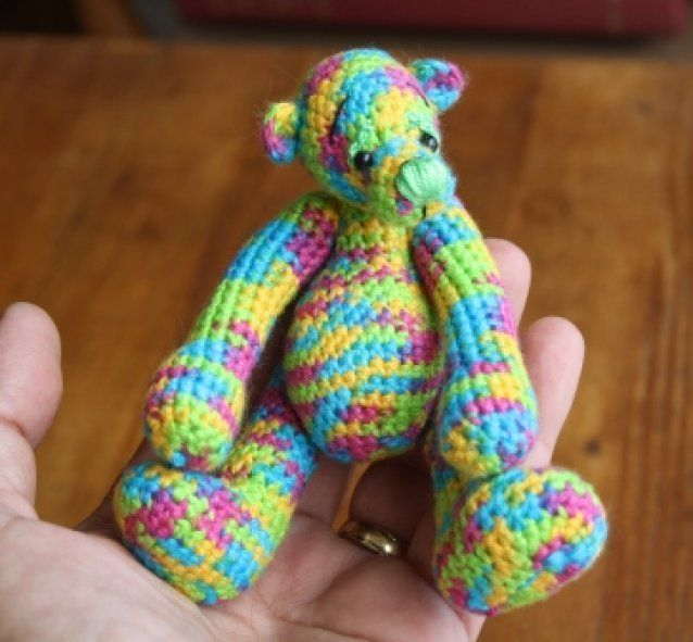 Clever Claude ( cos he's so bright!) - a little crochet bear SOLD