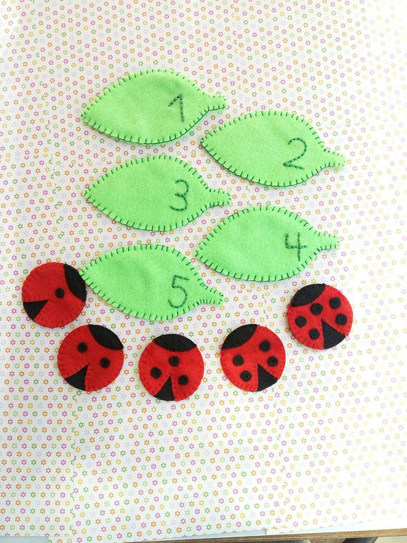 Preschool activity, felt, numbers, ladybug, math activity, early childhood learning, gift for toddlers