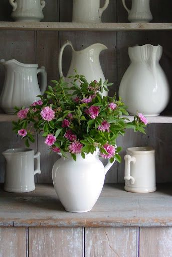 Those special pieces ...Decor, Pink Flower, Ironstone Pitcher, Modern Architecture, Fresh Flower, Pink Rose, White Jugs, White Pitcher, White Ironstone