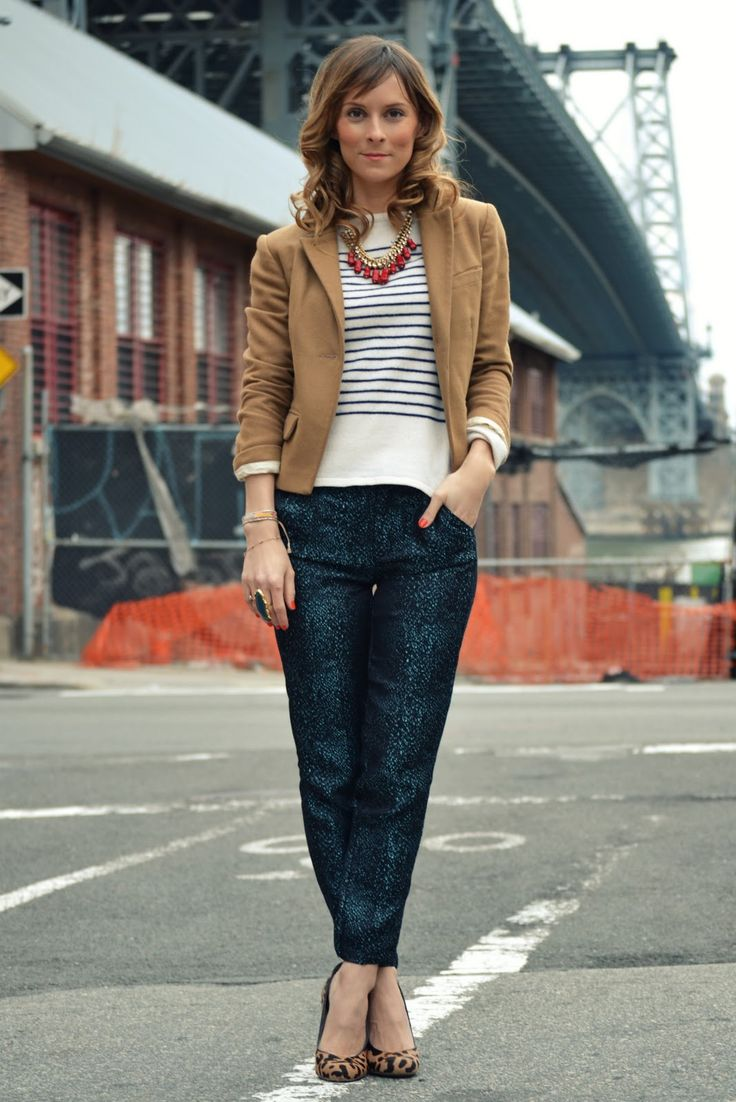 mixed textures and patternsStriped Shirts, Fashion, Leopards Shoes, Prep Style, Lucy Laucht, Stripes Shirts, Mixed Prints, Camel Blazers, Work Outfit