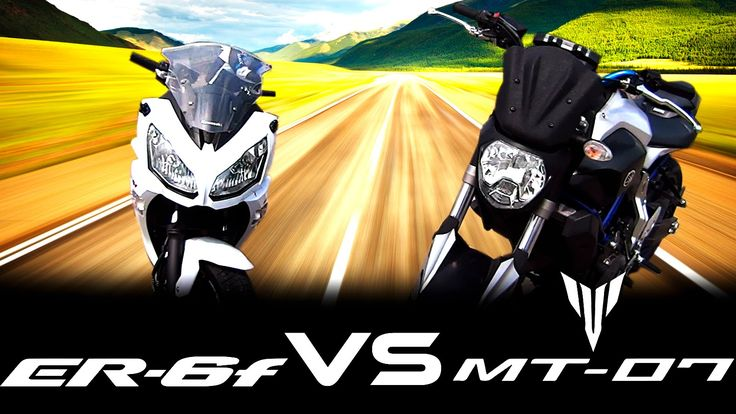 YAMAHA MT07 VS KAWASAKI ER6F Drag Race Xmotos