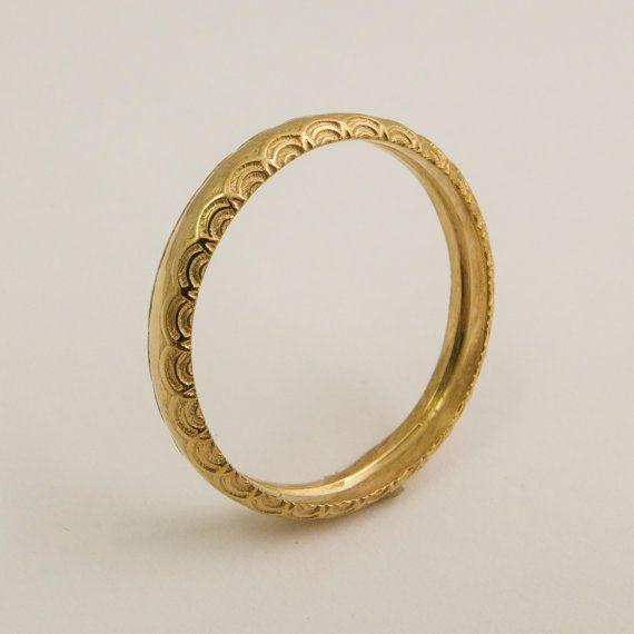 14 karaats gouden eenvoudige trouwring voor vrouwen, gouden ring met delicate patroon, dunne gouden bruiloft band, Gold ronde trouwring voor man, vrouw ring
