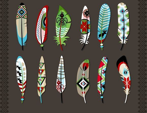 Feathers painted with ethnic pattern by Microvector on @creativemarket