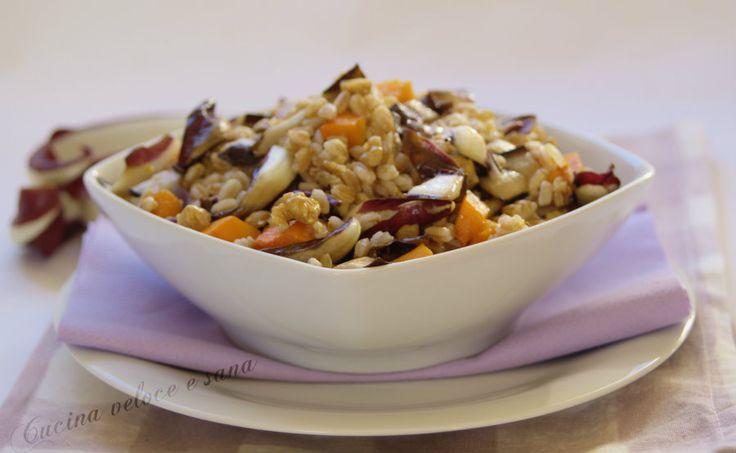 Farro al radicchio, zucca e noci, un primo piatto gustoso ma leggero, ricco di elementi salutari, perfetto per rimanere leggeri ma con gusto.