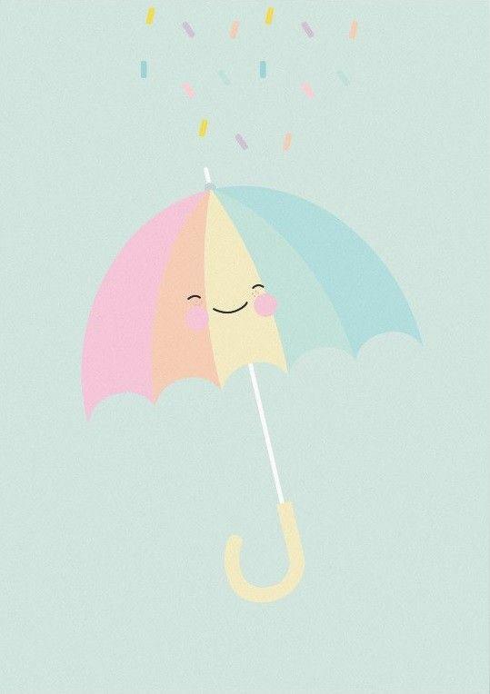 Eef Lillemor ansichtkaart pastellette umbrella