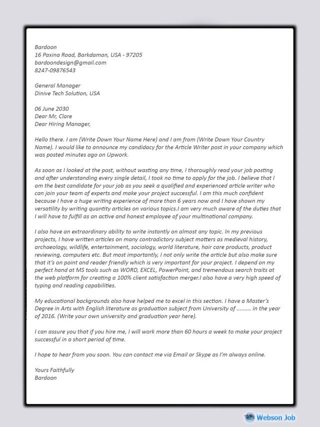 Cover Letter For Content Writer | brandforesight co