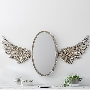 LOVE this mirror...Junk Gypsy Antique Oval Mirror with Wings #pbteen