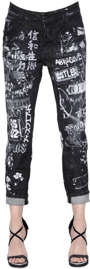 Cool Girl Printed Destroyed Denim Jeans