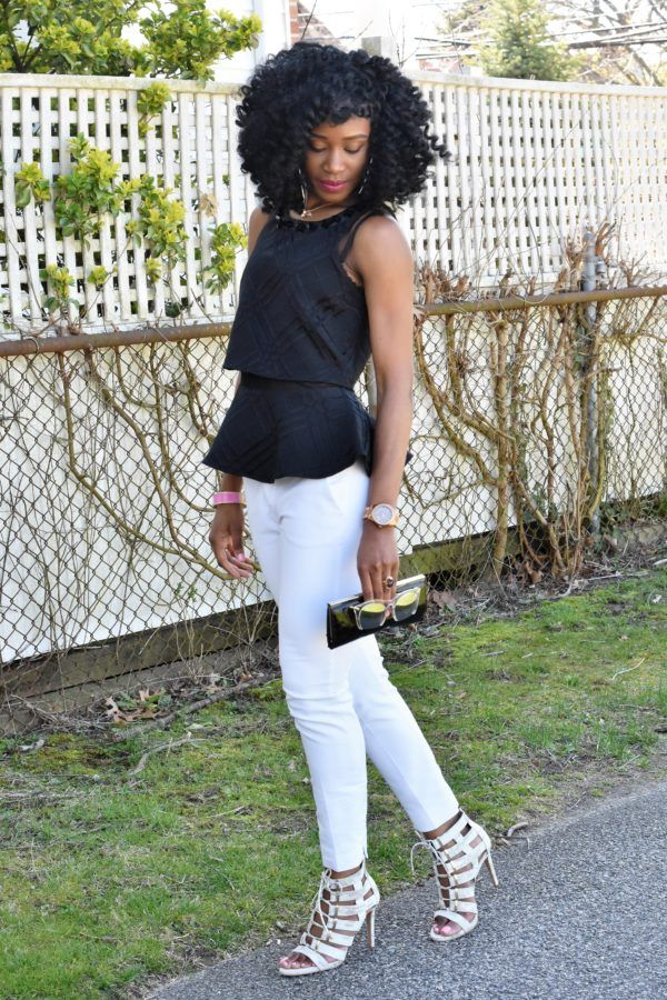 White trousers + black peplum top (8)