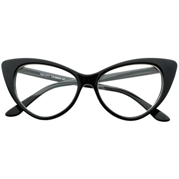Tip Pointed Clear Lens Retro Style Cat Eye Glasses Frames c10 ($19) ❤ liked on Polyvore featuring accessories, eyewear, eyeglasses, clear eyeglasses, polka dot glasses, retro glasses, cat-eye glasses and retro cat eye glasses