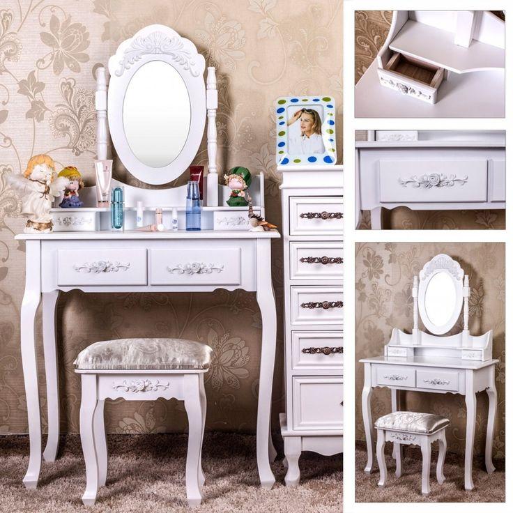SEA402 - Masă machiaj cu oglindă reglabilă - http://www.emobili.ro/cumpara/sea402-set-masa-alba-toaleta-cosmetica-machiaj-oglinda-masuta-vanity-958 #eMobili