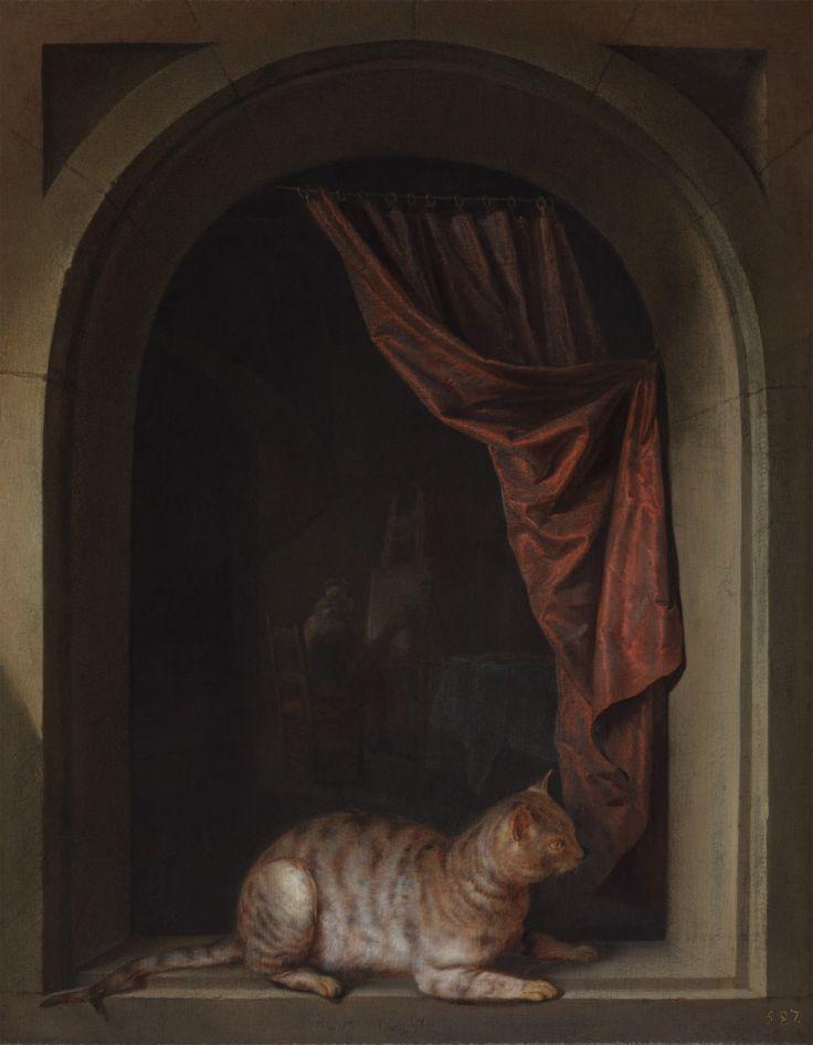Gerrit Dou: een kat die in een venster ligt met op de achtergrond een kunstenaar in zijn atelier. 1657. Leiden collection.