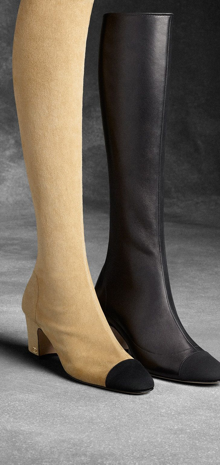 chanel knee high boots. thigh high stretch velvet lambskin suede \u0026 grosgrain boots and knee - chanel chanel c
