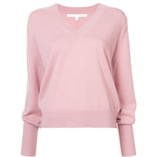 Veronica Beard v-neck jumper (£360) ❤ liked on Polyvore featuring tops, sweaters, pink, cashmere v-neck sweater, jumper tops, v-neck tops, veronica beard and pink sweater