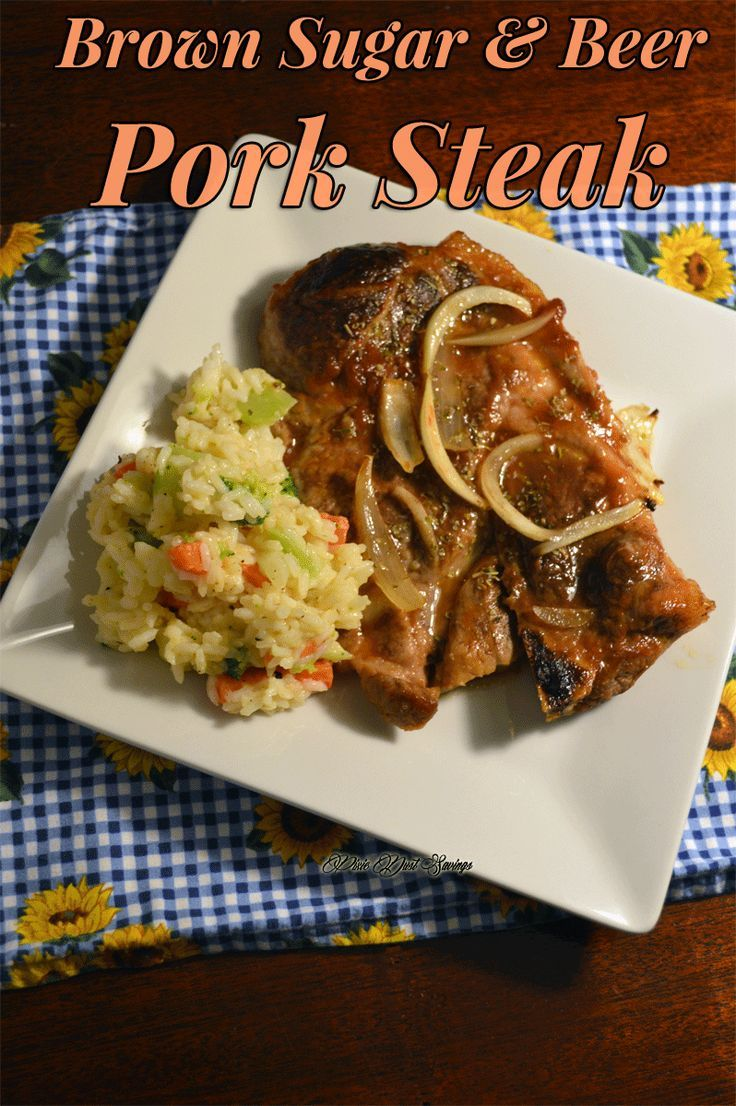 Super frugal, tasty, and simple Brown Sugar and Beer Pork Steak recipe that will have your family begging for more! Uses just 4 ingredients!