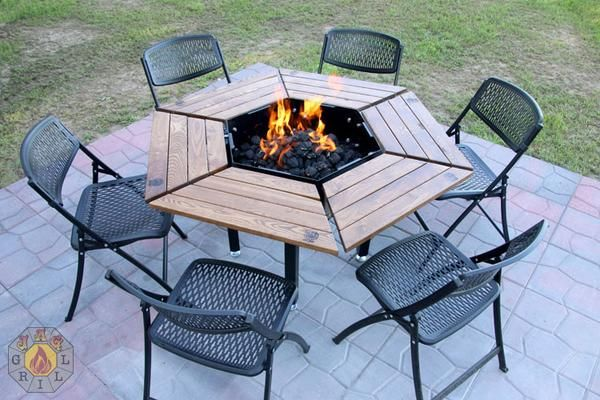3 In 1 Bbq Grill Table Firepit Outdoor Fire Pit Designs Fire Pit Grill Rustic Fire Pits
