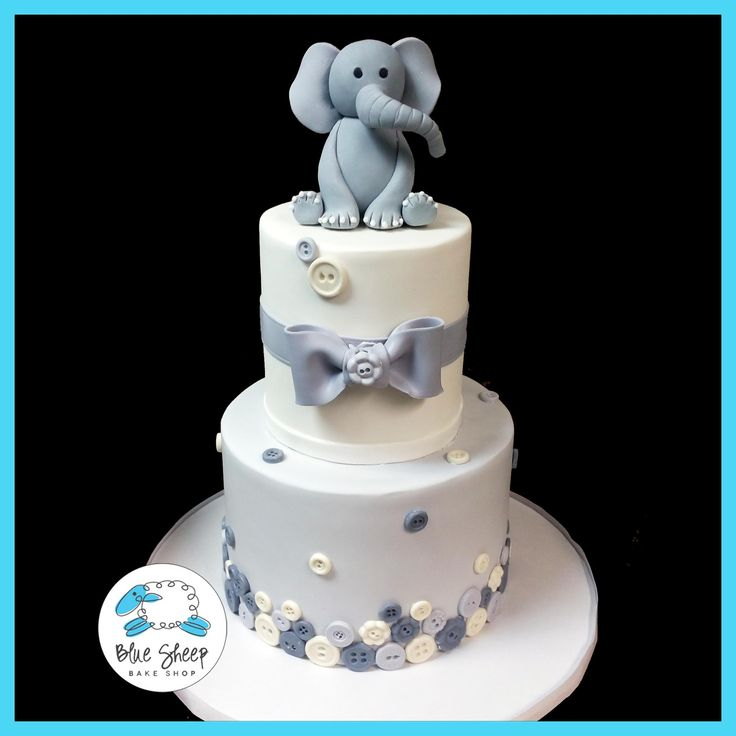 Elephant And Buttons Baby Shower Cake U2013 Blue Sheep Bake Shop