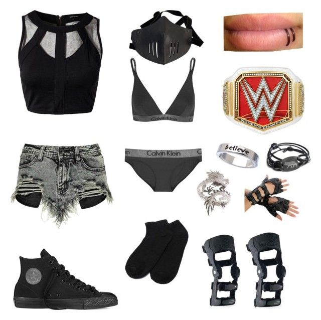 """""""•wwe fighting gear (4)•"""" by katyb101 ❤ liked on Polyvore featuring River Island, Boohoo, Converse, Calvin Klein Underwear, Erica Anenberg and Elise Dray"""