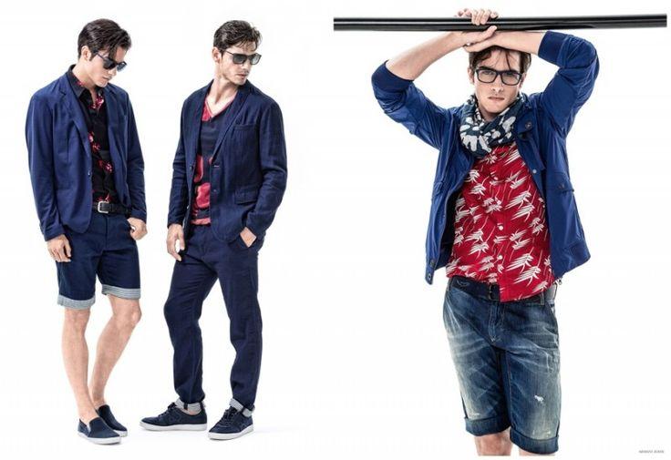 Armani Jeans İlkbahar Yaz 2015 Kataloğu Erkekler 004 800x549 Armani Jeans Bahar 2015 Erkek Koleksiyonu için Mavi + kucaklıyor Baskılar Goes