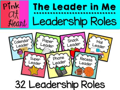 The Leader in Me: Leadership Roles from kac2877 from kac2877 on TeachersNotebook.com (21 pages) - 32 Leadership Roles for your Classroom Leaders!
