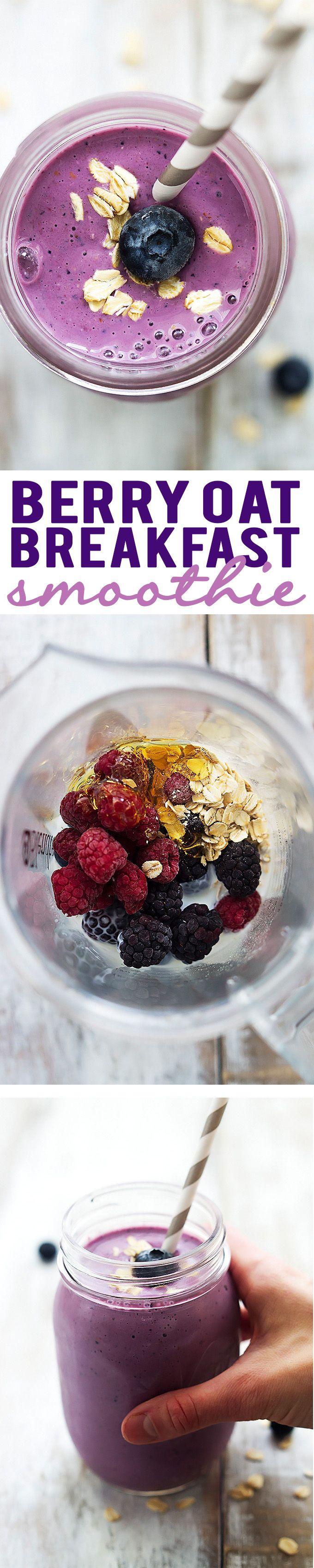 Berry Oat Breakfast Smoothie | Creme de la Crumb