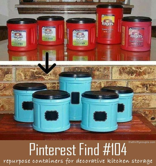 Repurpose Folgers plastic coffee cans for new decorative kitchen storage with a bit of paint!