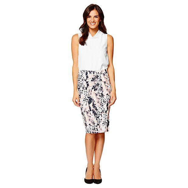 Ponte Pencil Skirt - Blush Print