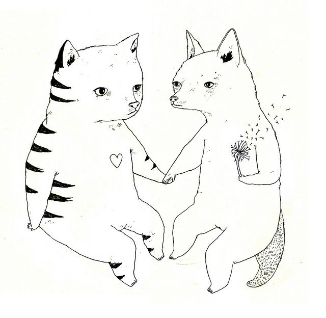 Cat Fox Love by Julia PottLove Tattoo, Juliapott, Julia Potts, Artwork, Art Inspiration, Commission Illustration, Cat Foxes, Cat Dogs, Cartoons Illustration