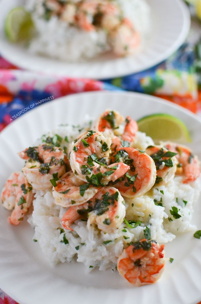 Cilantro Lime Shrimp with Coconut Rice   A Teaspoon of Happiness