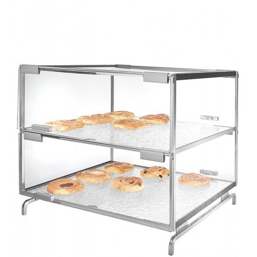 "2 Level Pastry Case Item: PC200-13 (Black) PC200-39 (Platinum). Two-level Strata Style Pastry Display Case offers a convenient and hygienic way of serving bagels, muffins, croissants etc. Welded, 3/8"" solid steel bar frame & acrylic case can safely support accessories or our Bagel Bin!"