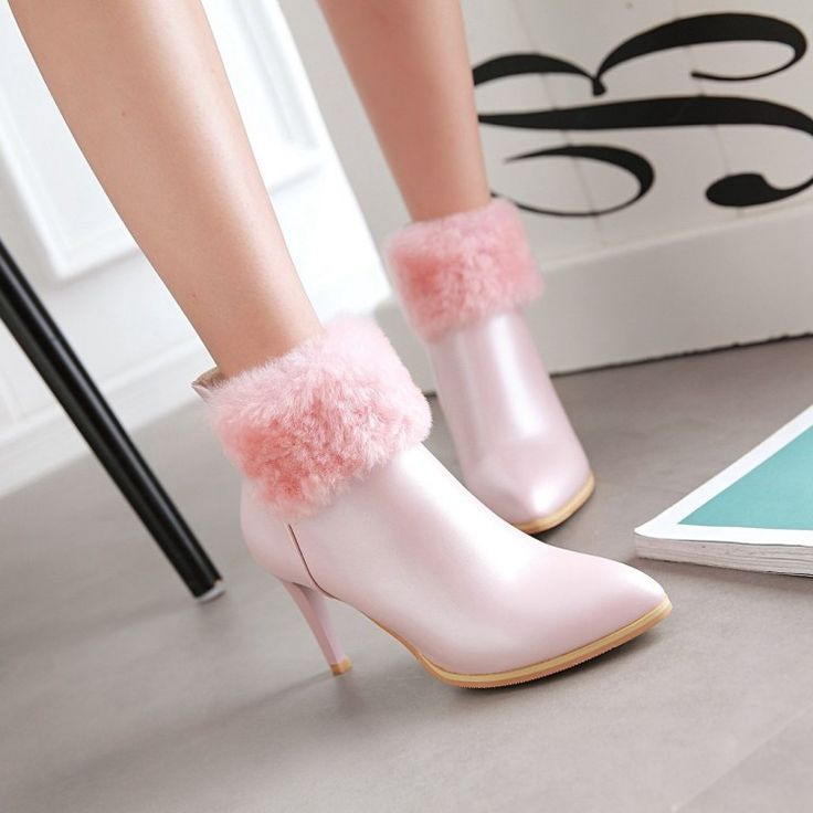 Pointed Toe Fur Ankle Boots High Heels Stiletto Heel 4023