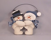 Christmas Ornament, Hand Painted Snowman Couple Wood , basket tie on, gift tag
