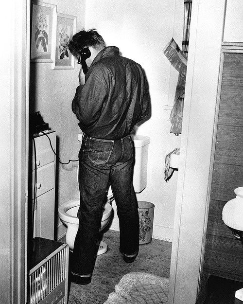 James Dean on the phone and possibly using the bathroom at the same time lol