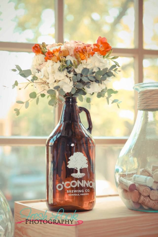 Love beer? Use a growler as a vase! Photo cred: Fresh Look Photography | Flowers: Studio Posy | Venue: Press 626 | Styling: Cherry Blossom Weddings, LLC